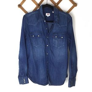 Levi's Western Denim Long Sleeve Button Front Top